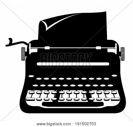 typewriter old retro vintage icon stock vector illustration isolated on white background