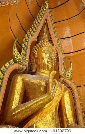 THAILAND, 14 January 2017 : close up gold buddha statue in Wathumsua Kanchanaburi , Amphur Taamuang at Kanchanaburi Thailand.