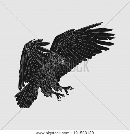 realistic dark eagle soaring eagle catching prey a symbol of freedom vector image