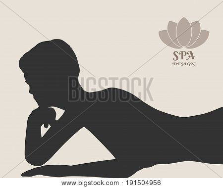 Vector illustration of a woman lying on the floor isolated over a grey background. Relaxing pose ready for massage. Spa salon branding