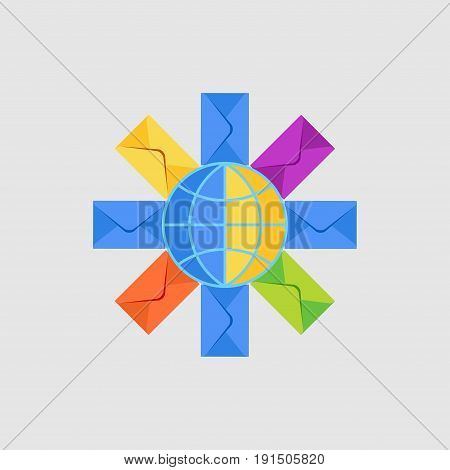 mail worldwide delivery messaging global network communications concept flat style vector image