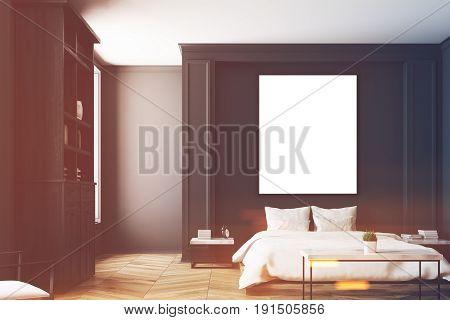 Black Bedroom Interior, Poster Toned