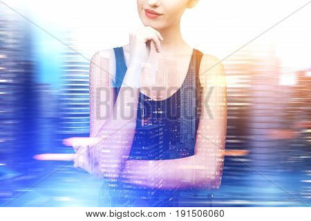 Portrait of a beautiful and pensive young woman wearing a black tank top. She is thinking and half smiling. Blurred city background. Mock up toned image double exposure