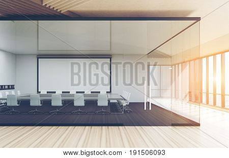 Transparent Conference Room Wooden Floor Toned