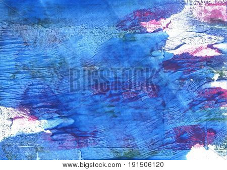 Hand-drawn abstract watercolor. Used colors: Han blue Bleu de France Tufts Blue Bright navy blue Blue Jeans White United Nations blue Cerulean blue Royal blue