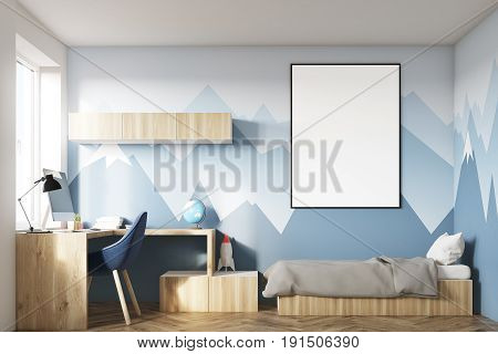 Kids room interior with a poster hanging above a bed bookshelves and a blue chair.  3d rendering mock up