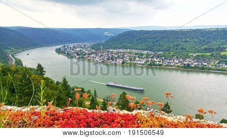 Beatiful view on the german Rhine valley