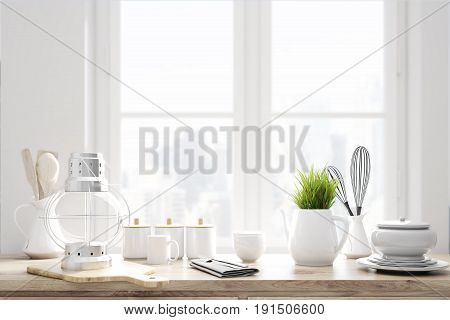 Laid brown kitchen talbe with white kitchenware utencils and a large window in the background. 3d rendering