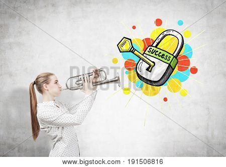 Side view of a blond woman with a trumpet standing near a concrete wall with a key to success sketch