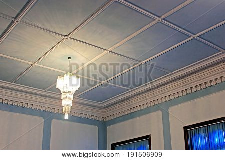 CHERNIVTSI, UKRAINE - APRIL 22, 2017: Beautiful ceiling in the Blue hall in Chernivtsi University, Western Ukraine, Europe
