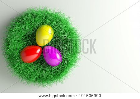 3d illustration; Easter Nest with three colorful Eggs