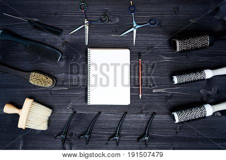 Hairdresser Tools On Wooden Background. Blank Card With Barber Tools Flat Lay. Top View On Wooden Ta