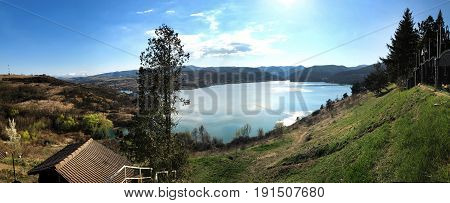 hunedoara region romania cincis lake landscape panorama