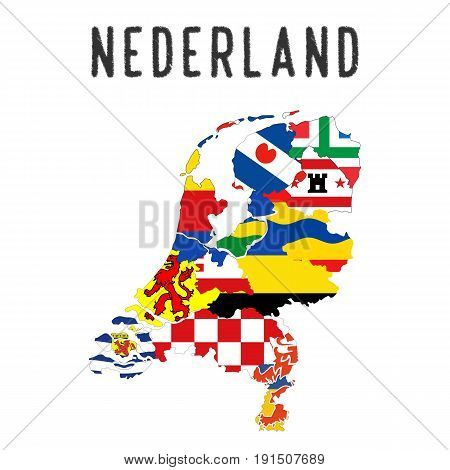 Netherlands country regions province flag map illustration