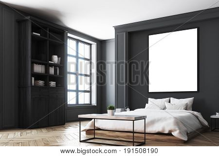 Luxury bedroom interior with gray and black walls a bookcase a double bed two bedside tables and wooden floor. Vertical poster. Corner. 3d rendering mock up