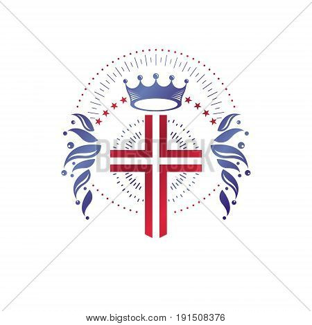 Cross Religious graphic emblem created using imperial crown and floral ornament Christian crucifixion. Heraldic Coat of Arms vintage vector logo isolated on white background.