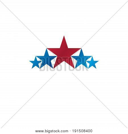5 Stars Emblem, Ranking Symbol. Heraldic Coat Of Arms Decorative Logo Isolated Vector Illustration.