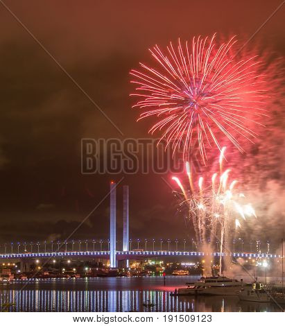 Fireworks on Victoria Harbour with Bolte Bridge Melbourne