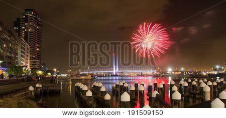 Fireworks display on Victoria Harbour Docklands Melbourne.