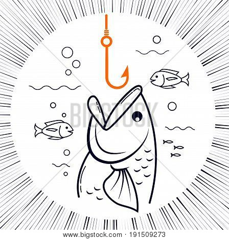 concept of fishing in the form of a fishing hook and a fish with an open mouth. Icon in the linear style