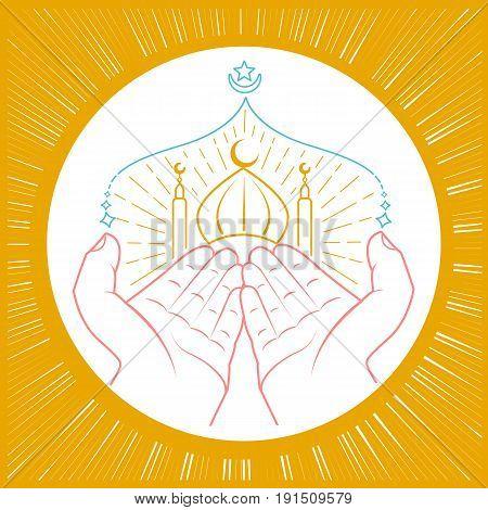 Illustration Of Hands Praying Namaz