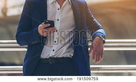Business Man Using Smartphone