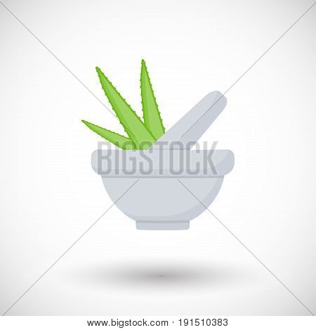 Mortar herbs with aloe vector flat icon Flat design of aromatherapy cooking or ayurveda object with round shadow vector illustration