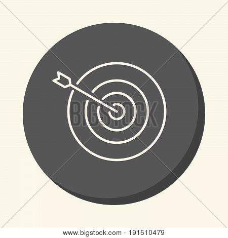 An arrow sticking out exactly from the center of the target a vector circular line icon with an illusion of volume a simple color change