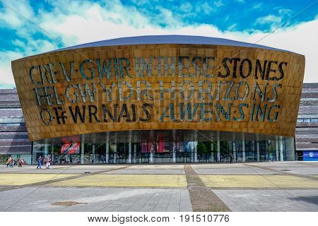 Cardiff Bay Wales - May 202017: Millennium Centre for Arts face-on view.