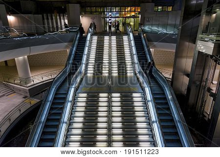 Kanazawa, Japan - April 24, 2014: Escalator in the main exit at Kanazawa station. Kanazawa Station is a major railway station operated by West Japan Railway Company (JR West)