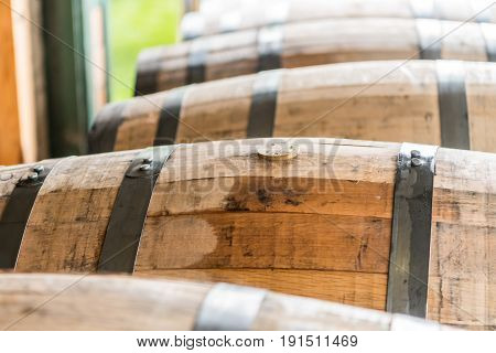 Wet Bung on Newly Filled Barrels in a Row
