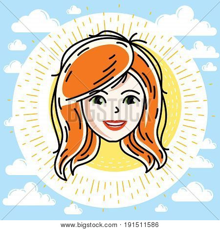 Beautiful women face human head. Vector redhead character attractive lady face features.