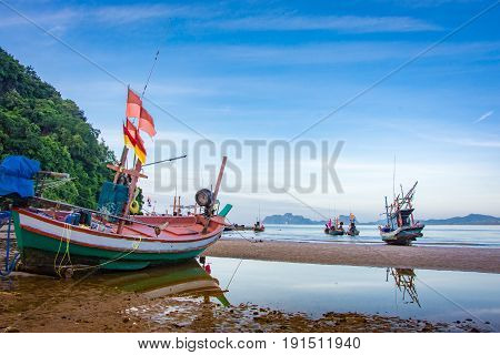 Fishing Boat Near Moutain Natural Seascape Sky Blue