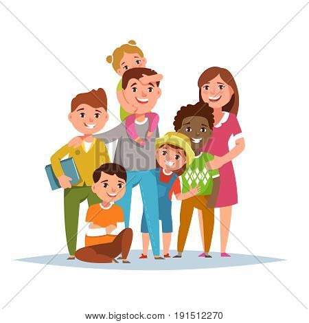 Big international family with adopted child standing together on white background isolated. Vector illustration flat style