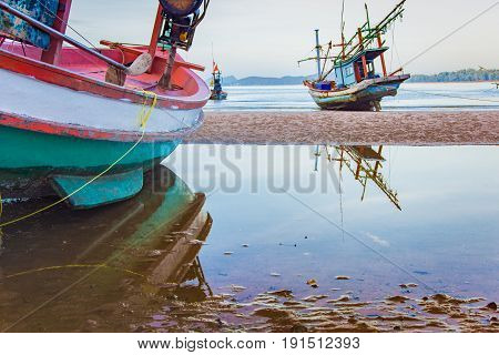 Fishing Boat On The Beach Seascape In Thailand