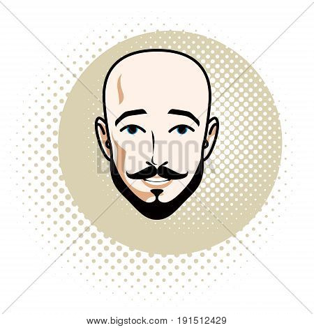 Caucasian man face features expressing confidence vector human head illustration. Attractive bearded bald male with whiskers.