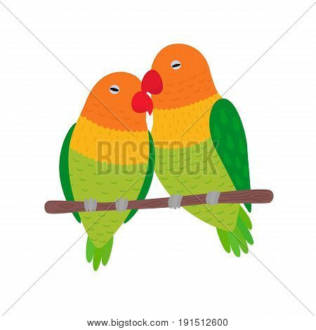 Illustration of Love Birds perched on a branch of a Tree vector Illustration