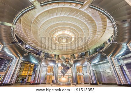 KUALA LUMPUR, MALAYSIA - APRIL 13, 2017: Main Lobby of Petronas Twin Towers. They were the world tallest building from 1998 to 2004 and still the world tallest twin towers till present.