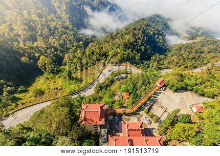 Top view around The Chin Swee Caves Temple is a Taoist temple ang situated in the most scenic site in Genting Highlands Pahang Malaysia