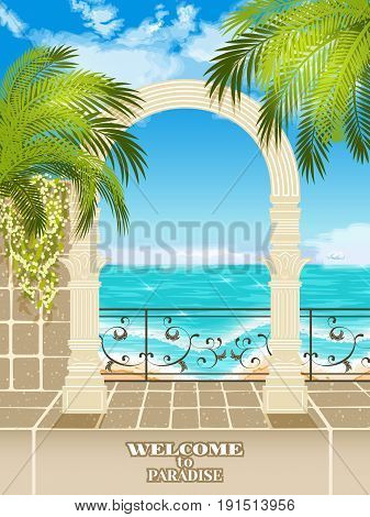 Vector background with an ocean and an arch with palm trees.Access to the sea through the archway.Sea view between roman columns.