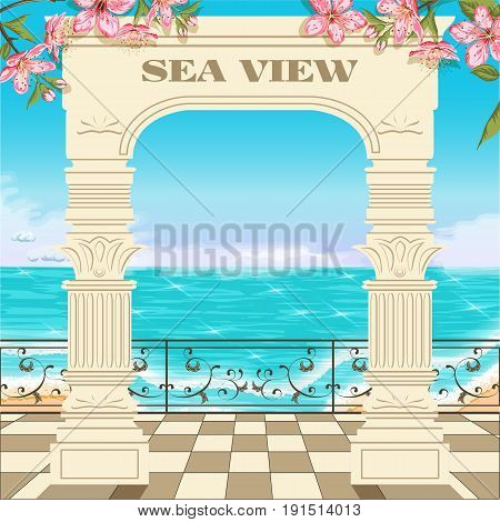 Vector background with an ocean and an arch covered with flowers.Access to the sea through the archway.Sea view between roman columns.