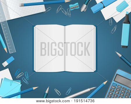 Open Blank Notebook With School Supplies