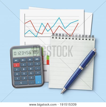 Vector illustration of business concept with finance graphs productivity chart blue ballpoint pen coil bound notebook and electronic calculator
