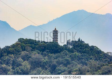 View of Ci En Pagoda near Sun-Moon Lake in Nantou Taiwan