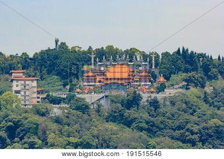 View of Wen Wu Temple at Sun-Moon Lake in Nantou Taiwan