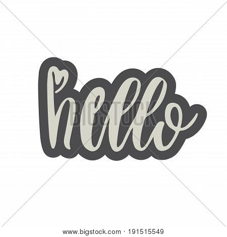 Hand Drawn Hello Word Isolated Vector Illustration In Patch Style