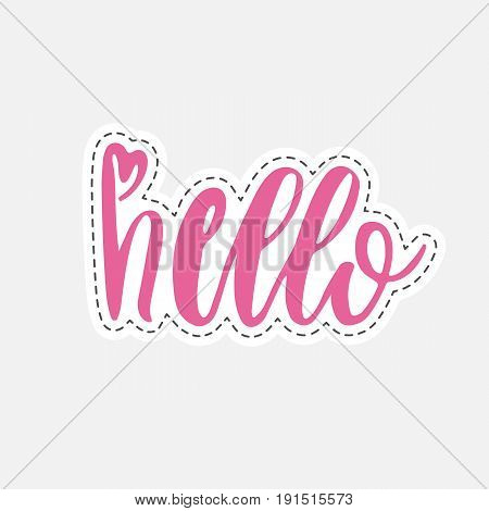 Hand Drawn Hello Word Isolated Vector Illustration In Patch Style.