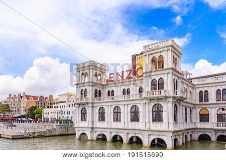 MACAU, CHINA - JULY 23, 2013: Macau Fisherman's wharf complex this beautiful place is currently being promoted as a wedding and reception venue. It is a lovely place to have one's pre-nuptial photos