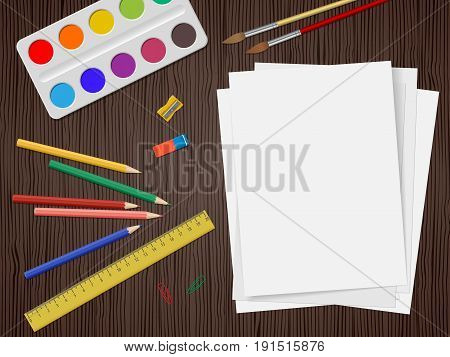 White Paper With School Supplies