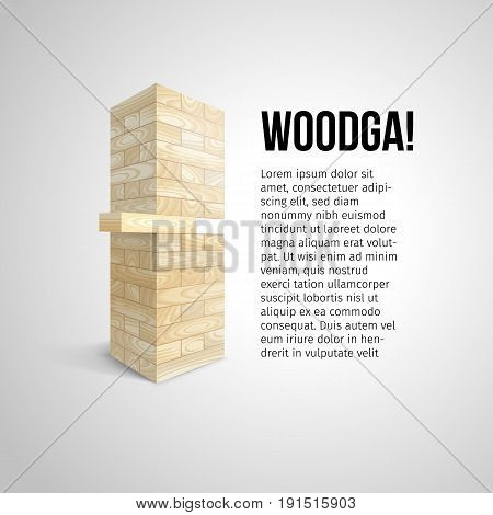 The tower from white wooden texture blocks and take one block vector illustration or vector document, advertising poster for the game.